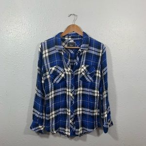 Rails Blue Plaid Button Down Shirt Size Small